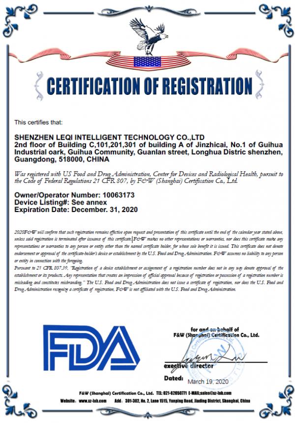 Certification of registration by FDA