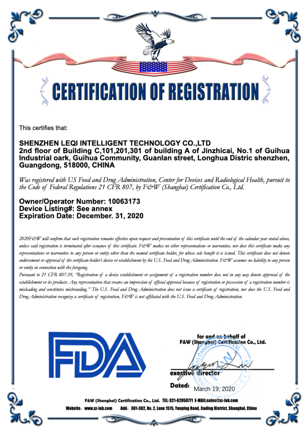 Certification of Registration - FDA