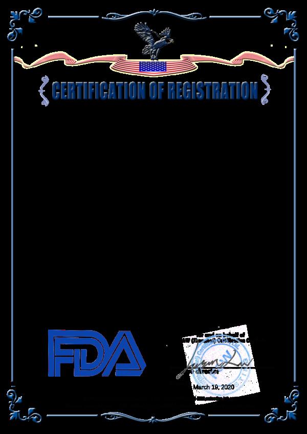 Certification of Registration - FDA
